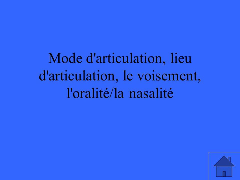 Mode d articulation, lieu d articulation, le voisement, l oralité/la nasalité