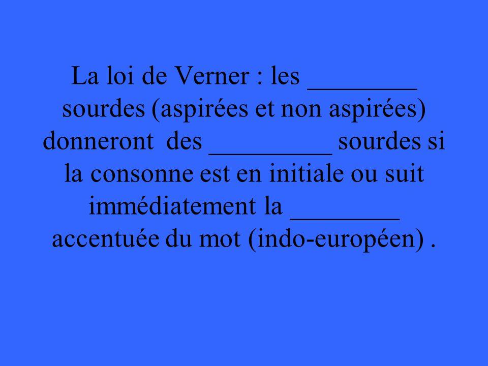 La loi de Verner : les ________ sourdes (aspirées et non aspirées) donneront des _________ sourdes si la consonne est en initiale ou suit immédiatement la ________ accentuée du mot (indo-européen) .