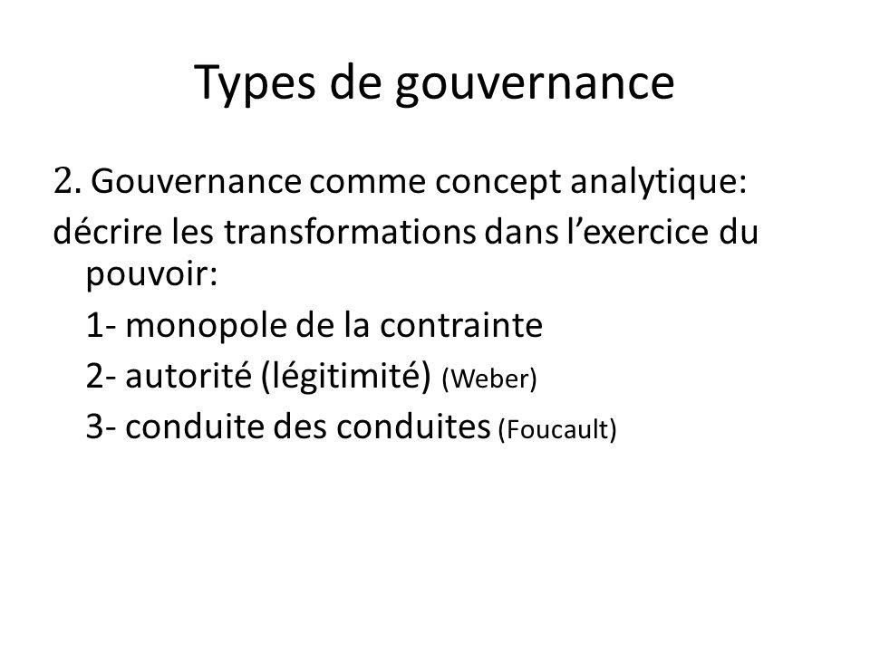 Types de gouvernance 2. Gouvernance comme concept analytique: