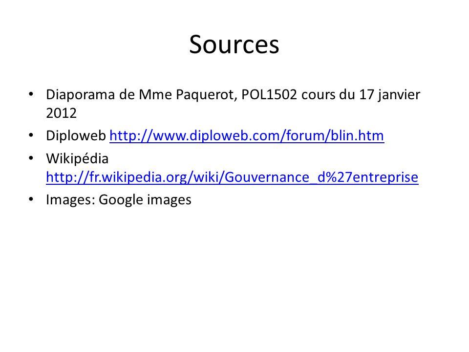 Sources Diaporama de Mme Paquerot, POL1502 cours du 17 janvier 2012