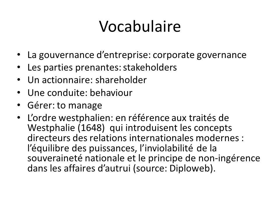 Vocabulaire La gouvernance d'entreprise: corporate governance