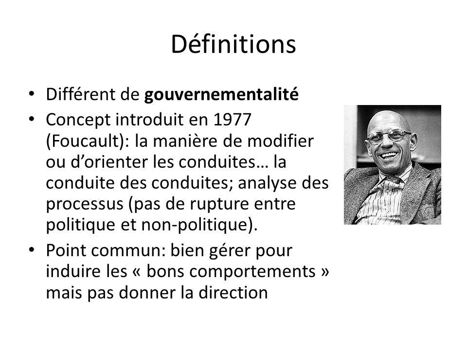 Définitions Différent de gouvernementalité