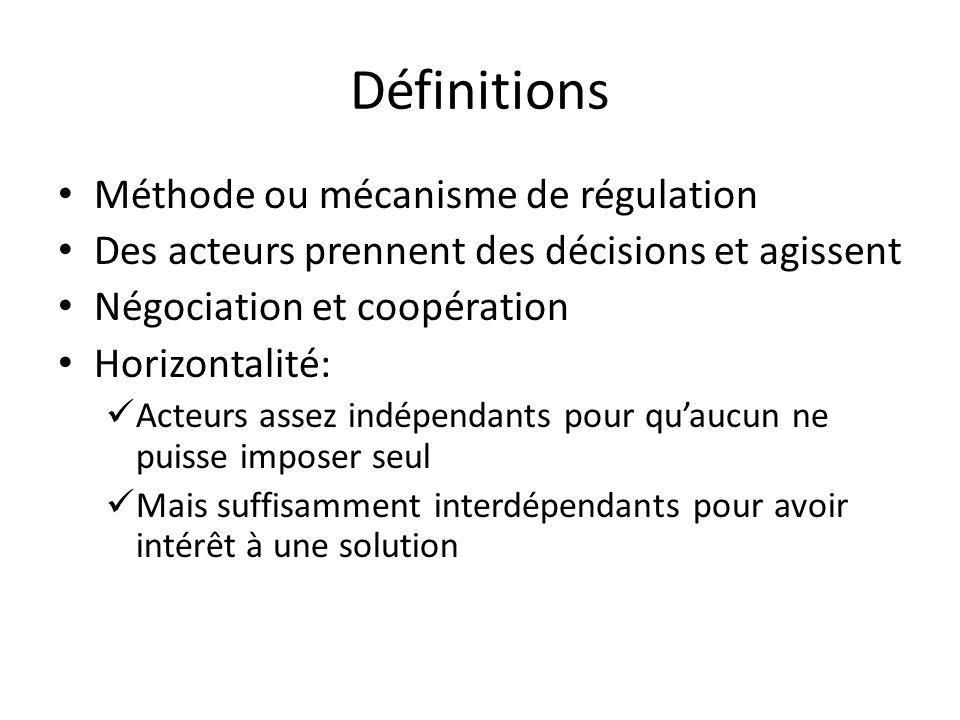 Définitions Méthode ou mécanisme de régulation