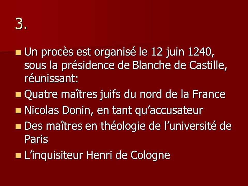 3. Un procès est organisé le 12 juin 1240, sous la présidence de Blanche de Castille, réunissant: Quatre maîtres juifs du nord de la France.