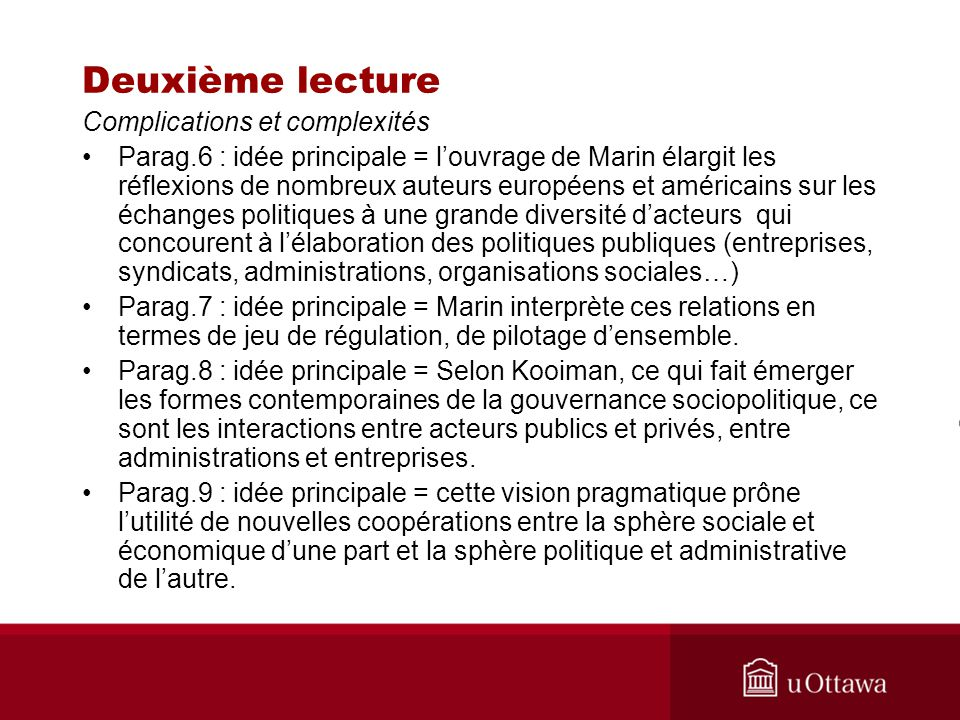 Deuxième lecture Complications et complexités