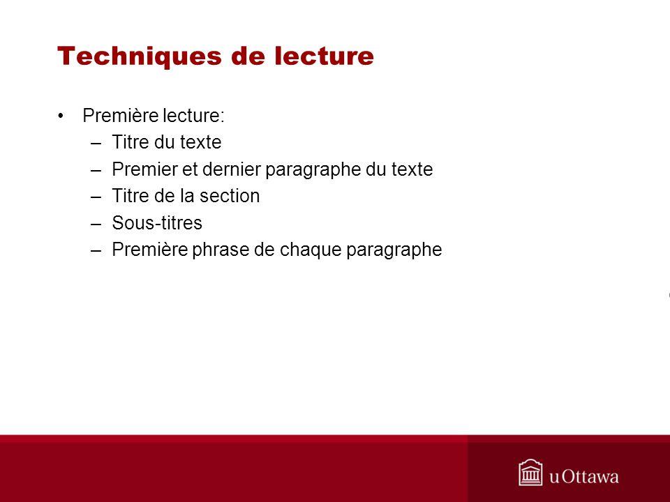 Techniques de lecture Première lecture: Titre du texte