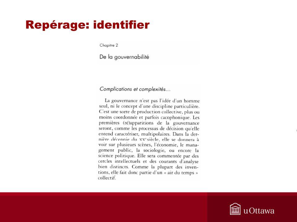 Repérage: identifier