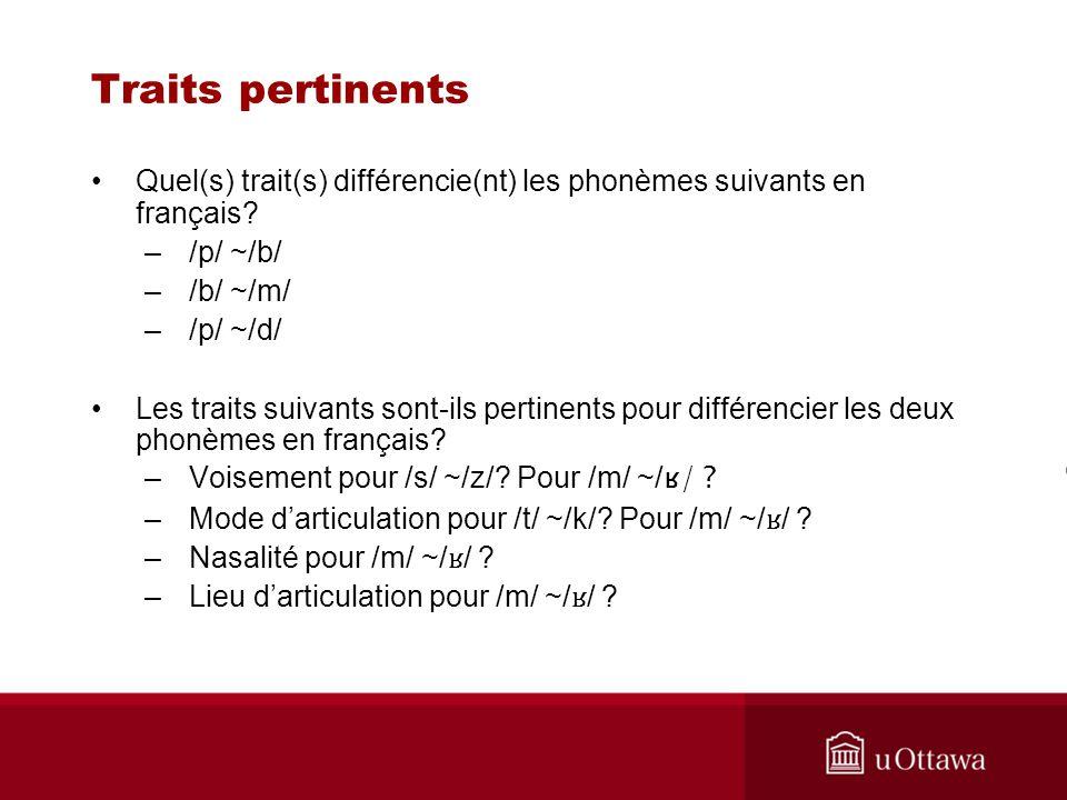 Traits pertinents Quel(s) trait(s) différencie(nt) les phonèmes suivants en français /p/ ~/b/ /b/ ~/m/