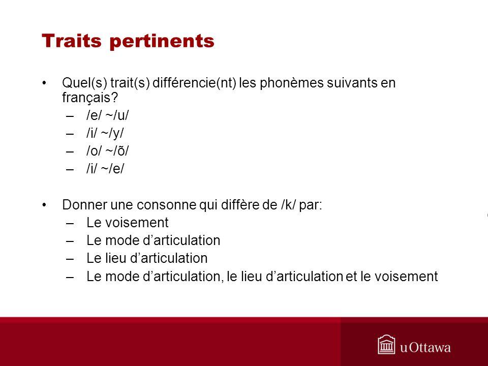 Traits pertinents Quel(s) trait(s) différencie(nt) les phonèmes suivants en français /e/ ~/u/ /i/ ~/y/