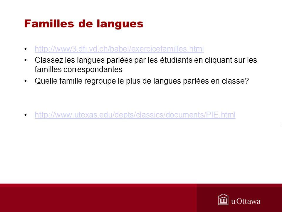 Familles de langues http://www3.dfj.vd.ch/babel/exercicefamilles.html