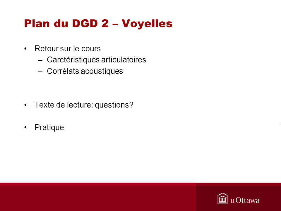 Plan du DGD 2 – Voyelles Retour sur le cours