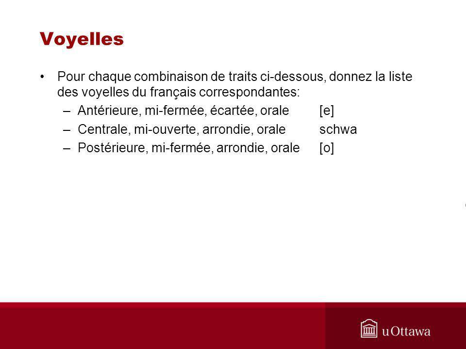 Voyelles Pour chaque combinaison de traits ci-dessous, donnez la liste des voyelles du français correspondantes: