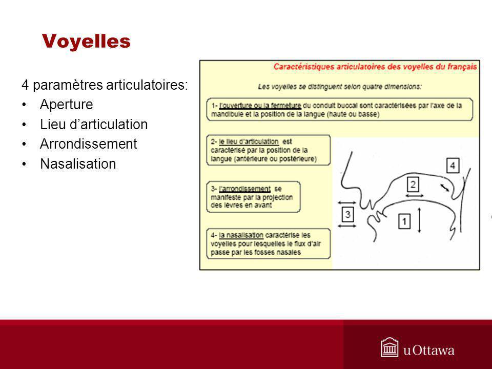 Voyelles 4 paramètres articulatoires: Aperture Lieu d'articulation