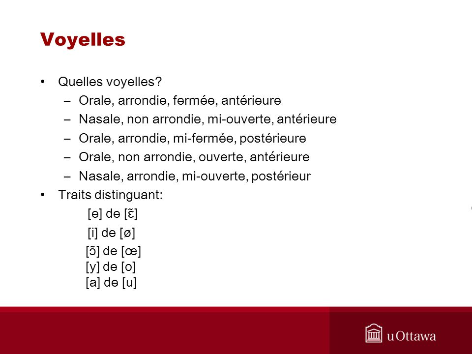 Voyelles Quelles voyelles Orale, arrondie, fermée, antérieure