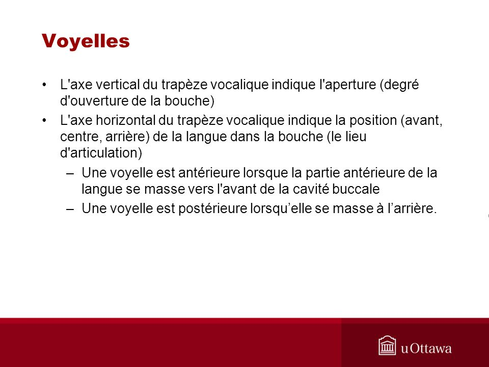 Voyelles L axe vertical du trapèze vocalique indique l aperture (degré d ouverture de la bouche)