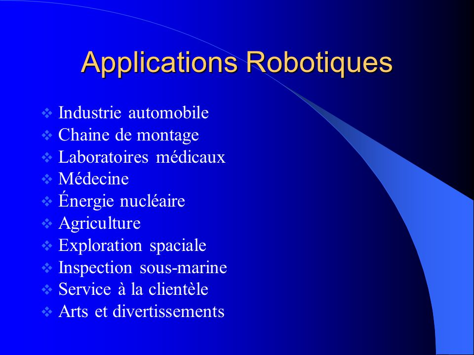 Applications Robotiques
