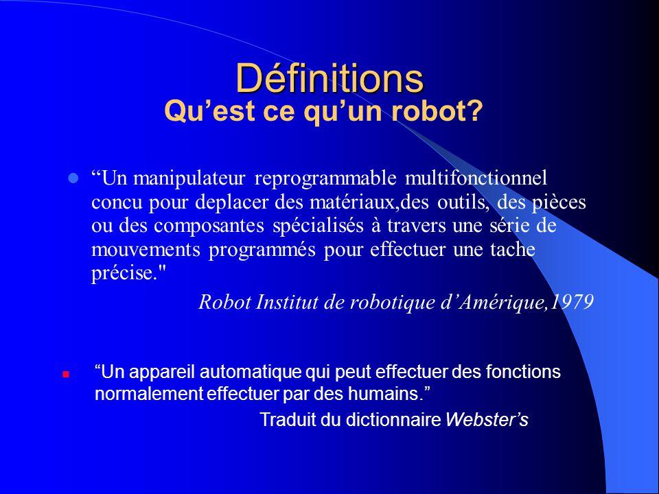 Définitions Qu'est ce qu'un robot
