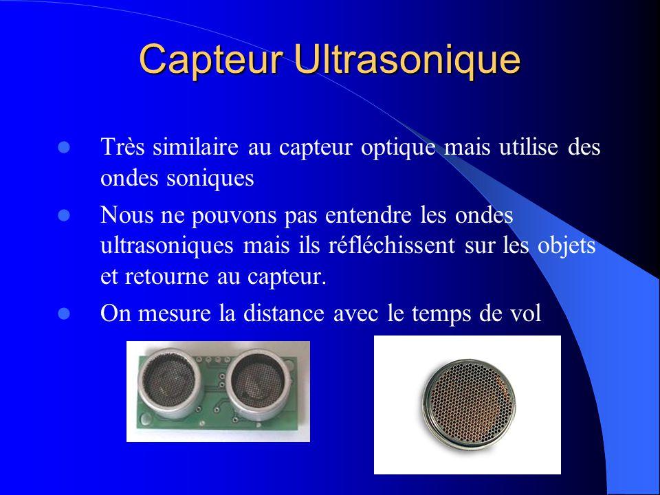 Capteur Ultrasonique Très similaire au capteur optique mais utilise des ondes soniques.