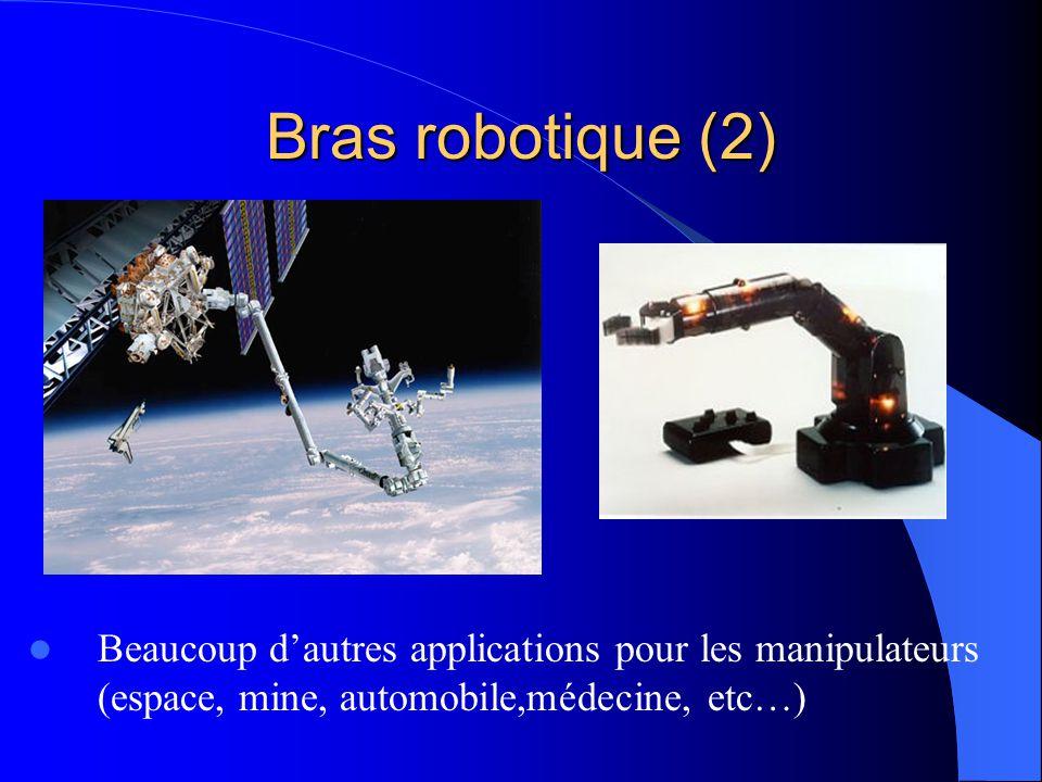 Bras robotique (2) Beaucoup d'autres applications pour les manipulateurs (espace, mine, automobile,médecine, etc…)