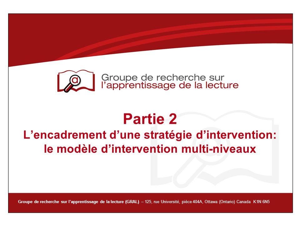 Partie 2 L'encadrement d'une stratégie d'intervention: le modèle d'intervention multi-niveaux
