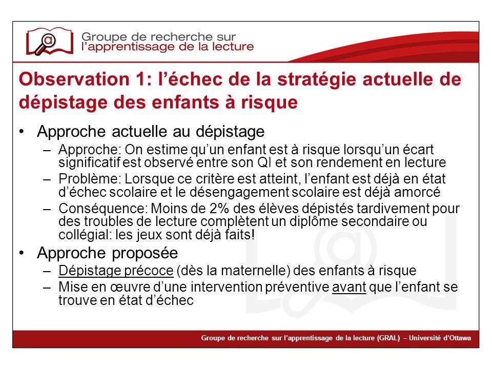 Observation 1: l'échec de la stratégie actuelle de dépistage des enfants à risque