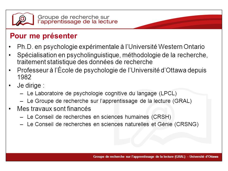 Pour me présenter Ph.D. en psychologie expérimentale à l'Université Western Ontario.