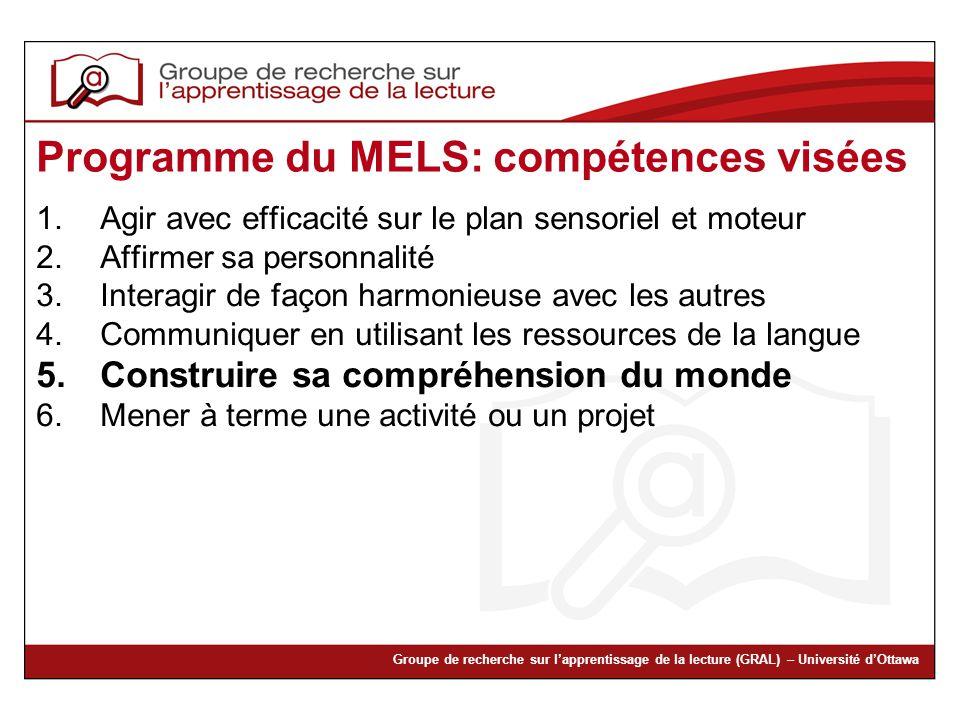Programme du MELS: compétences visées