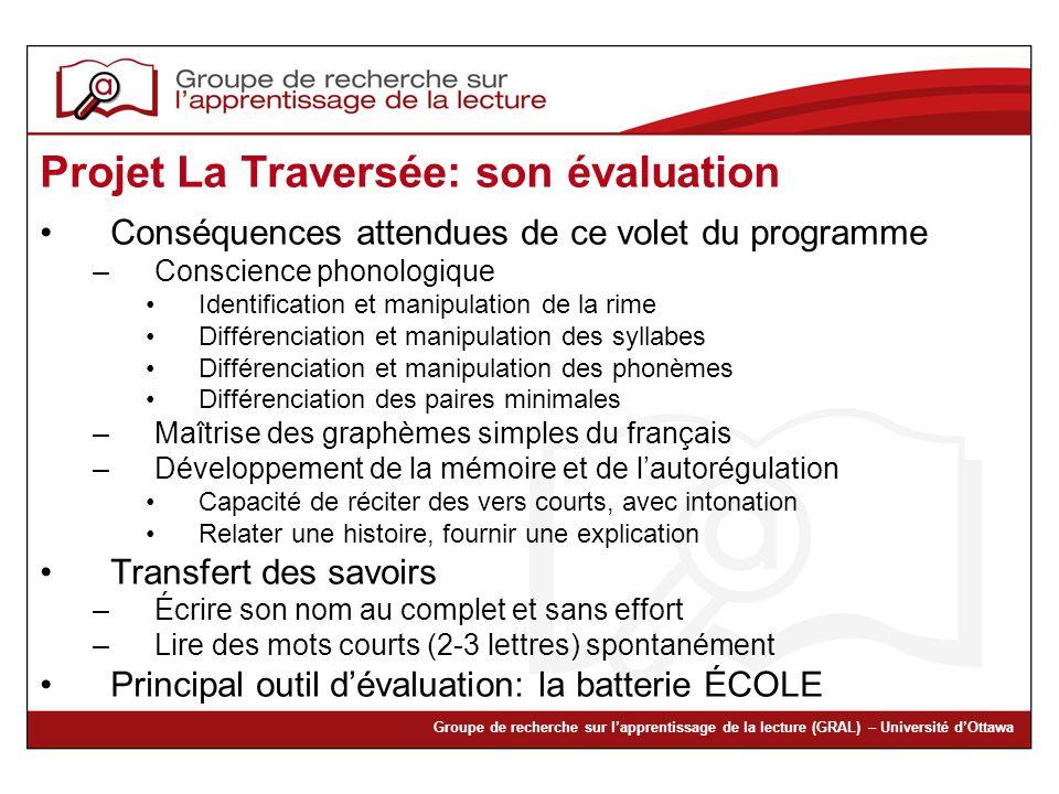 Projet La Traversée: son évaluation