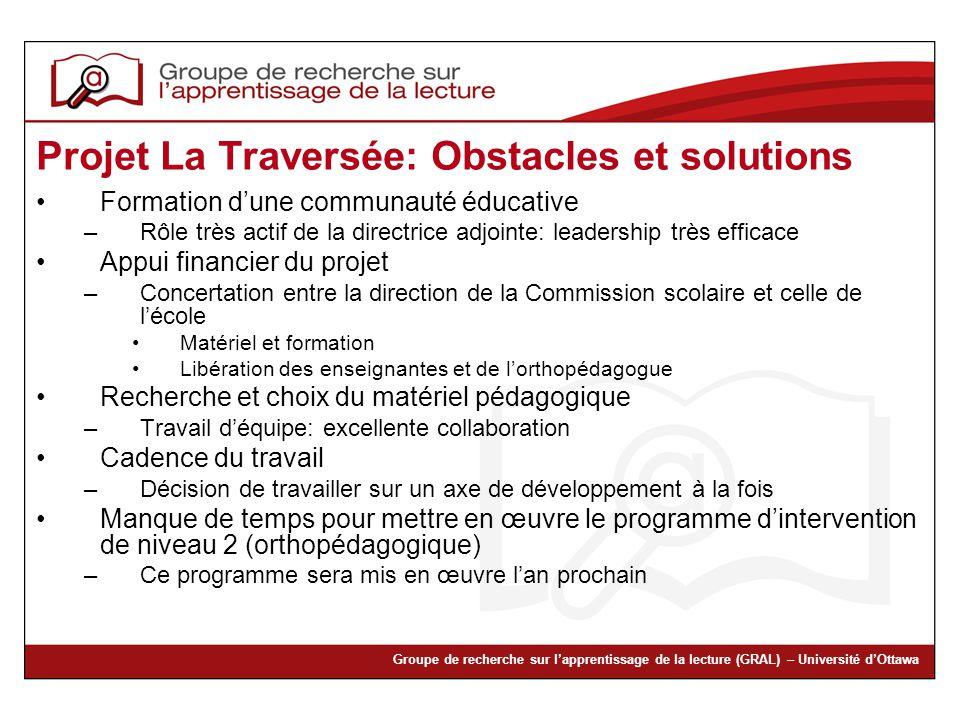 Projet La Traversée: Obstacles et solutions