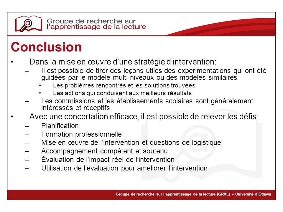 Conclusion Dans la mise en œuvre d'une stratégie d'intervention: