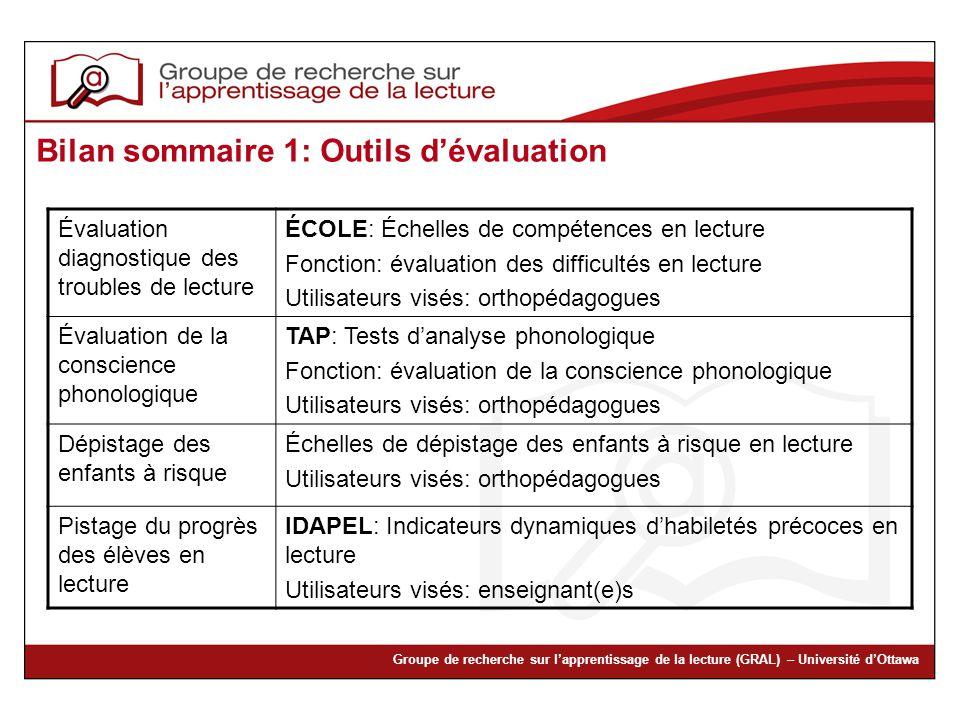 Bilan sommaire 1: Outils d'évaluation