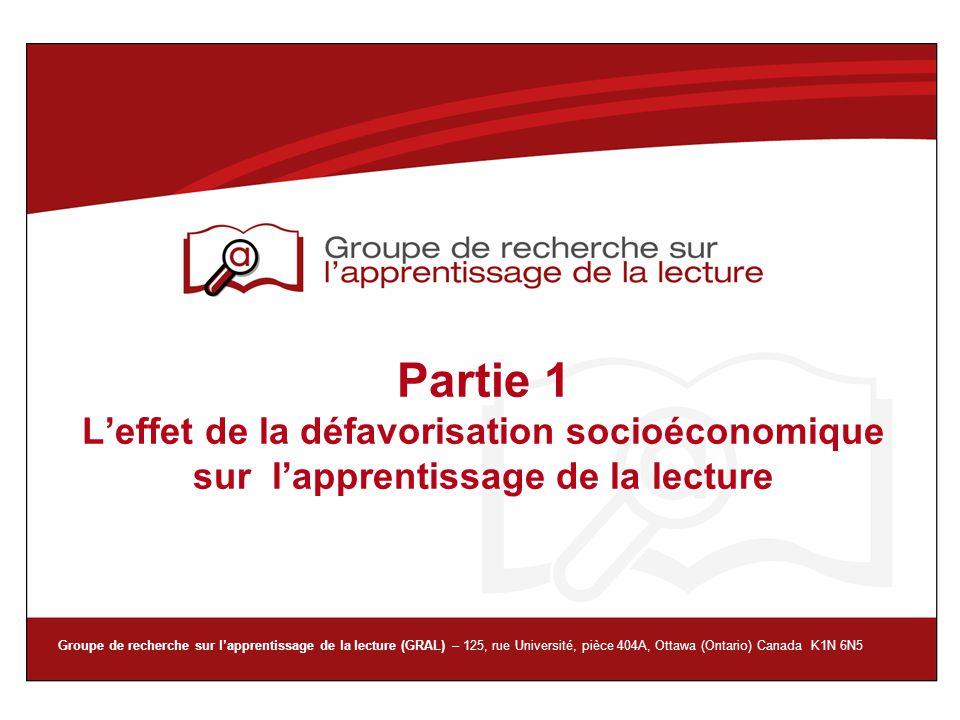 Partie 1 L'effet de la défavorisation socioéconomique sur l'apprentissage de la lecture