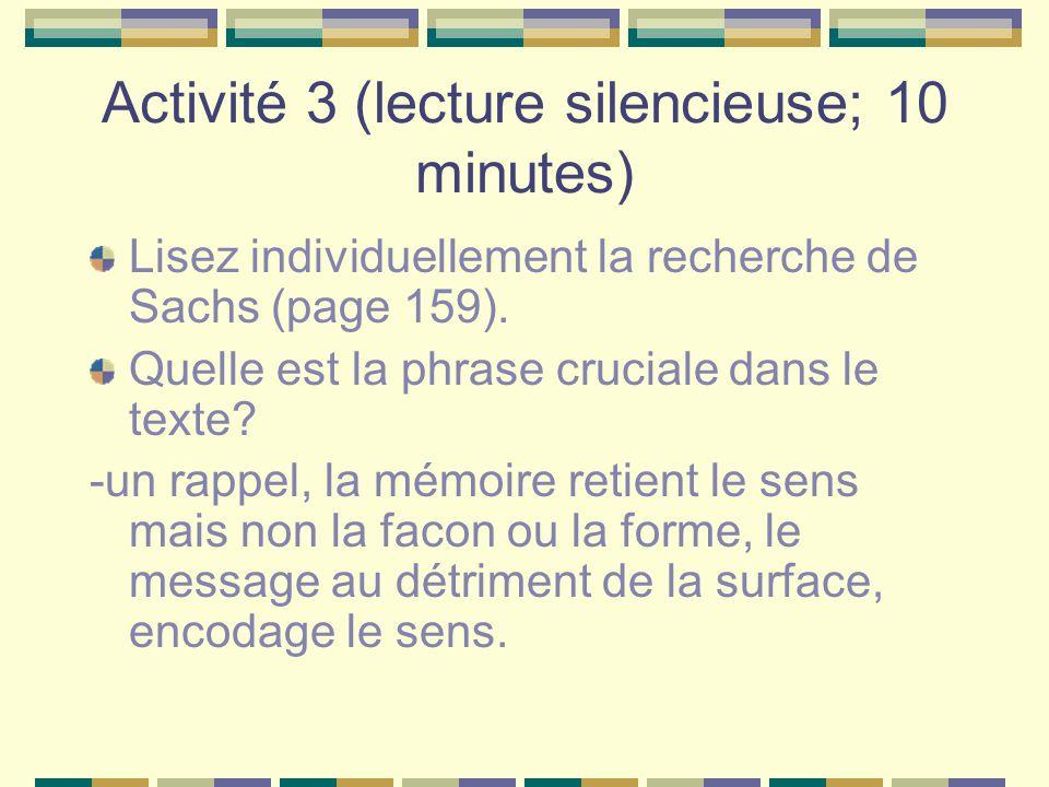 Activité 3 (lecture silencieuse; 10 minutes)