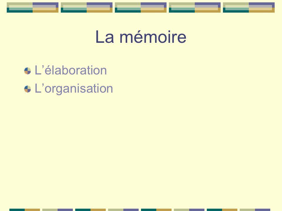 La mémoire L'élaboration L'organisation