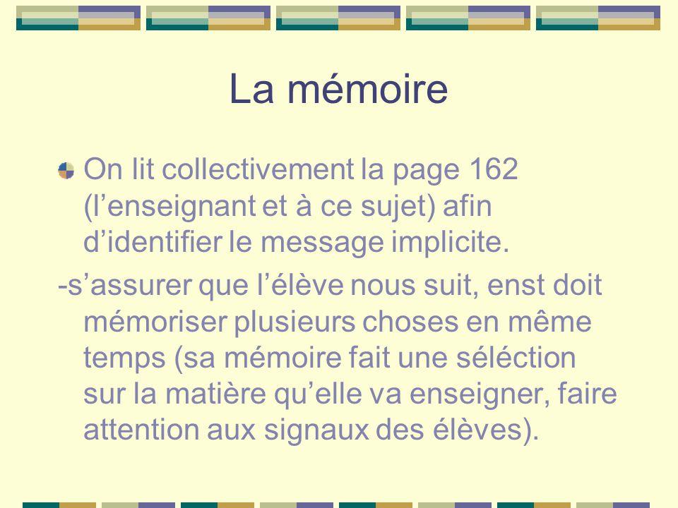 La mémoire On lit collectivement la page 162 (l'enseignant et à ce sujet) afin d'identifier le message implicite.