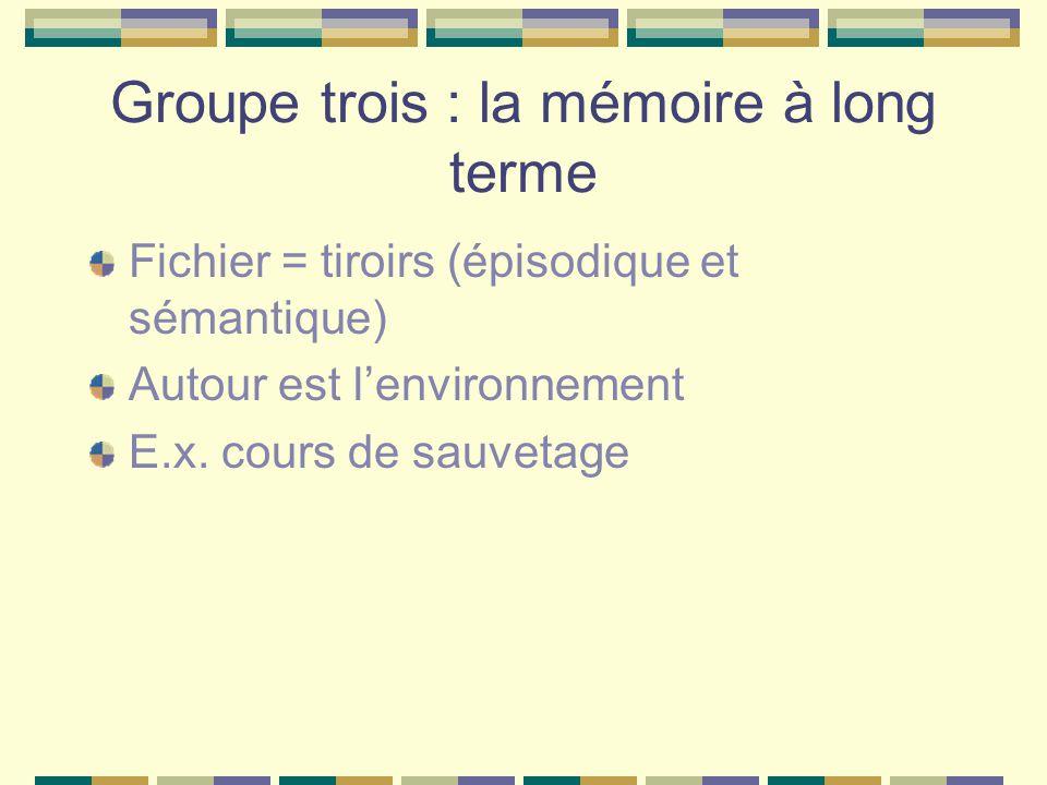 Groupe trois : la mémoire à long terme