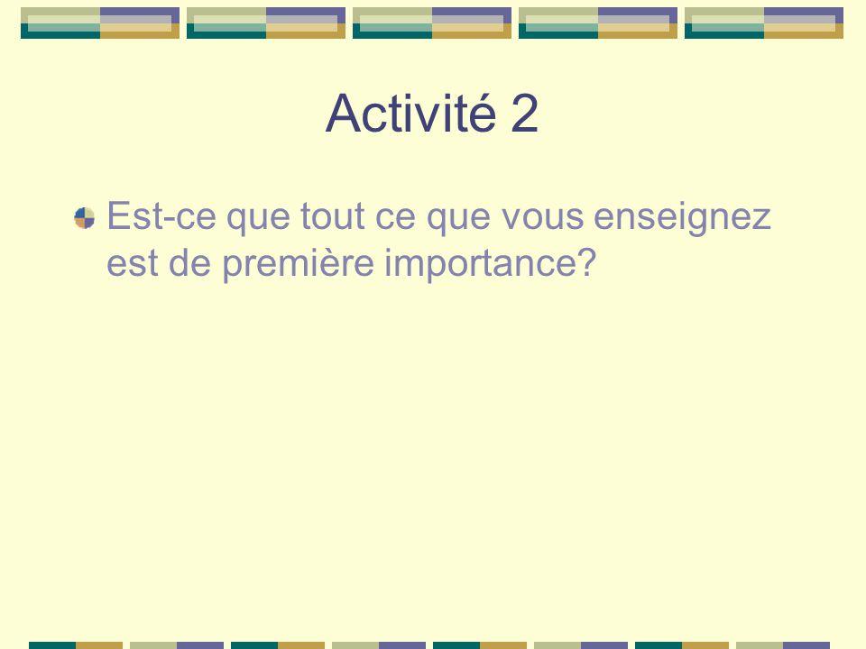 Activité 2 Est-ce que tout ce que vous enseignez est de première importance