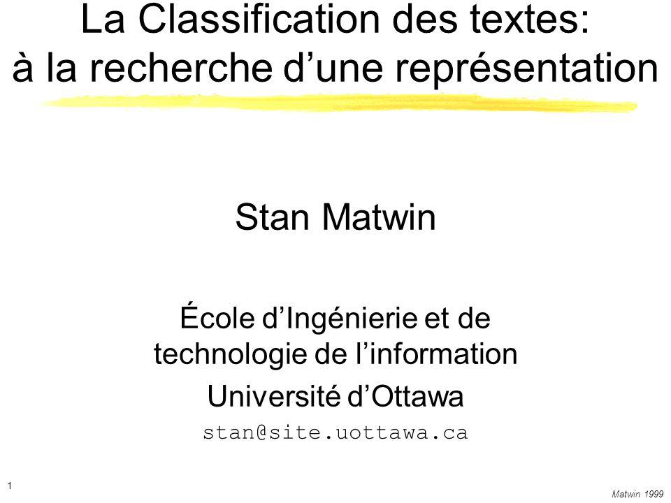 La Classification des textes: à la recherche d'une représentation