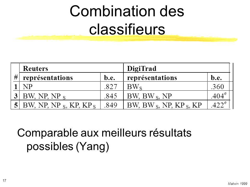 Combination des classifieurs
