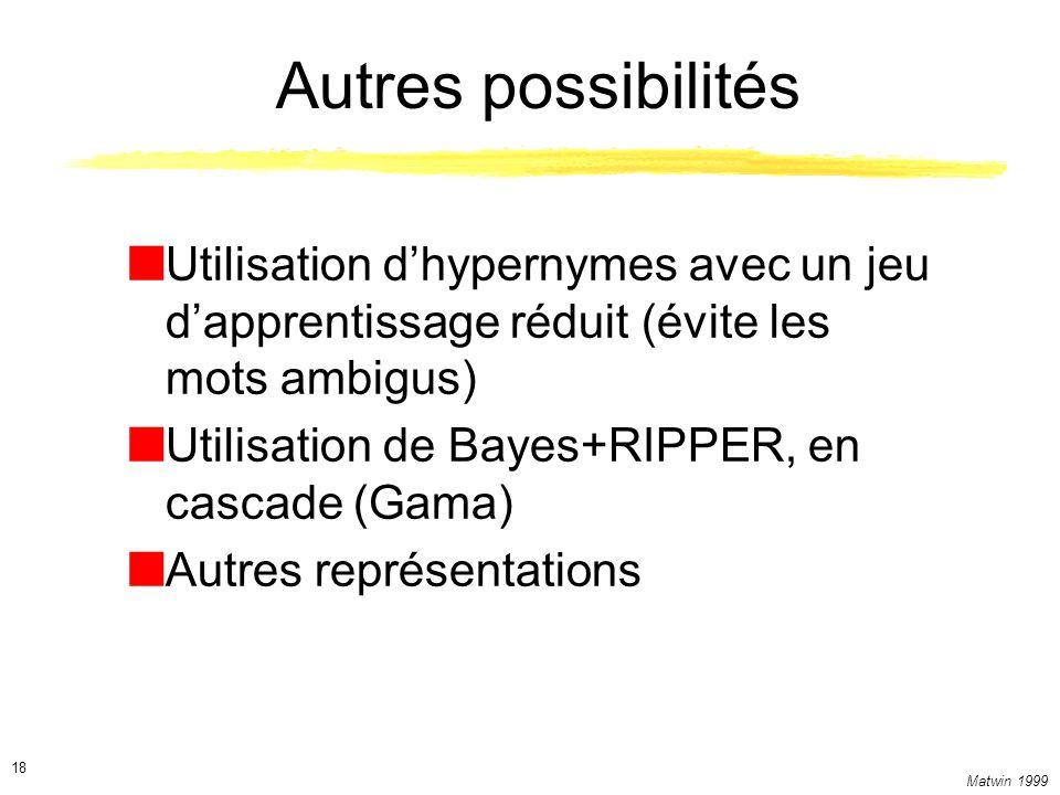 Autres possibilités Utilisation d'hypernymes avec un jeu d'apprentissage réduit (évite les mots ambigus)
