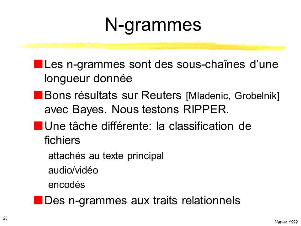 N-grammes Les n-grammes sont des sous-chaînes d'une longueur donnée