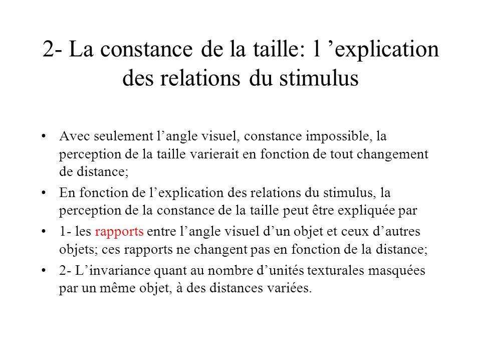 2- La constance de la taille: l 'explication des relations du stimulus