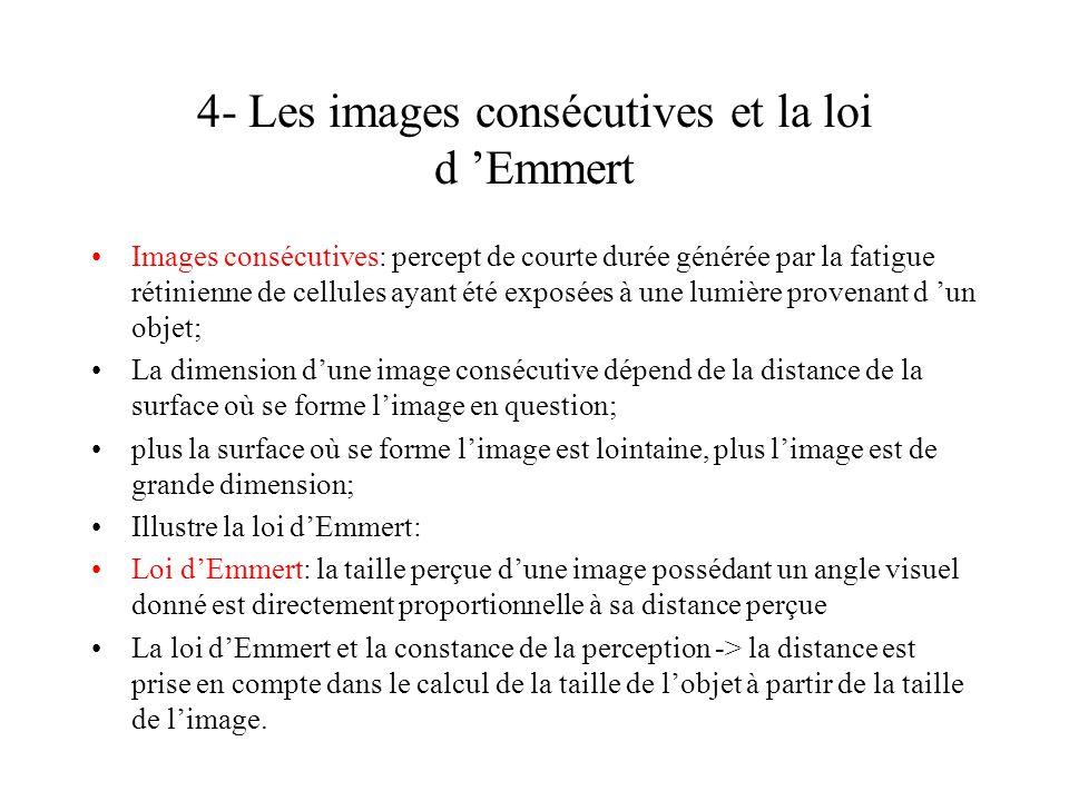 4- Les images consécutives et la loi d 'Emmert