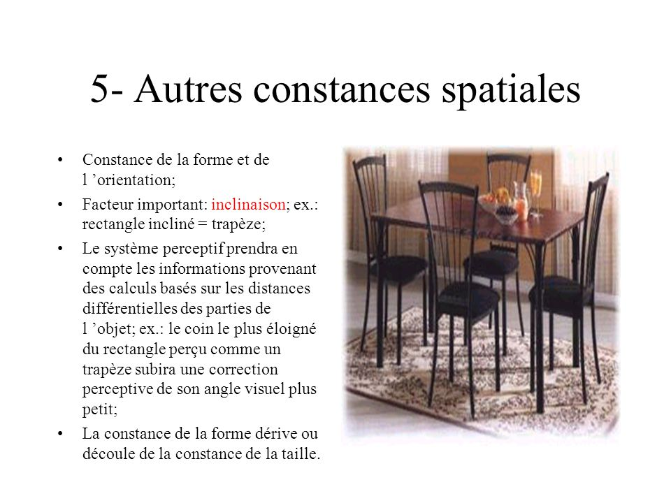5- Autres constances spatiales