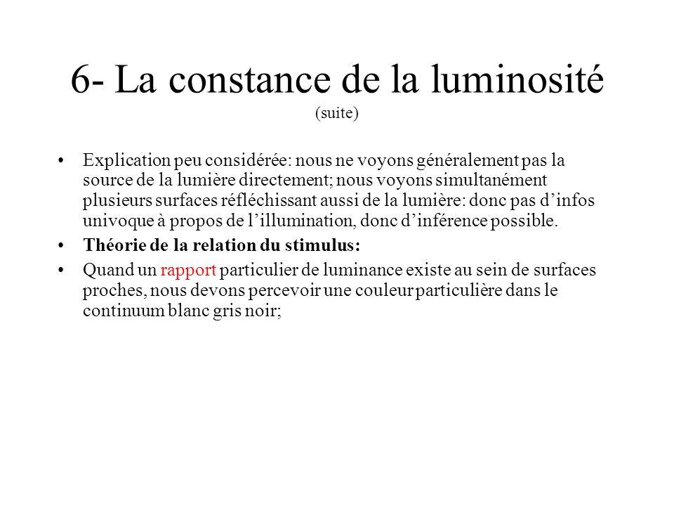 6- La constance de la luminosité (suite)