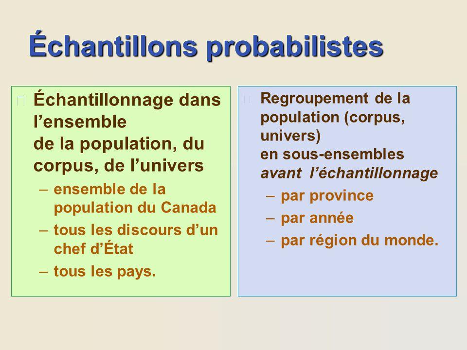 Échantillons probabilistes
