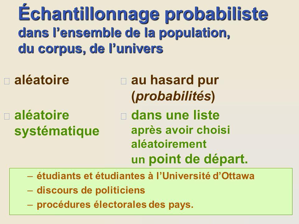 Échantillonnage probabiliste dans l'ensemble de la population, du corpus, de l'univers