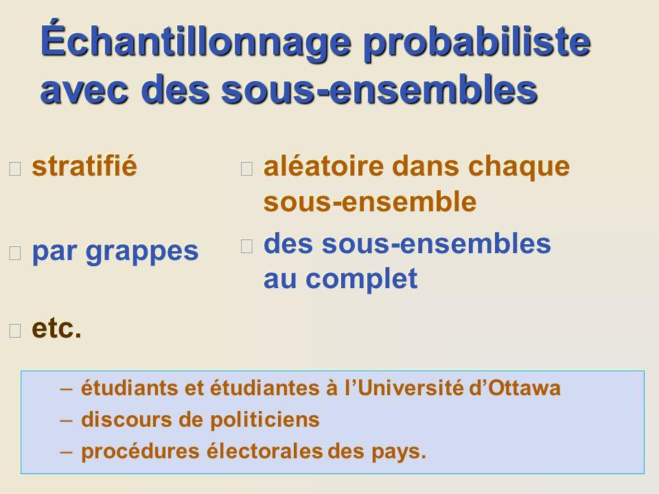 Échantillonnage probabiliste avec des sous-ensembles