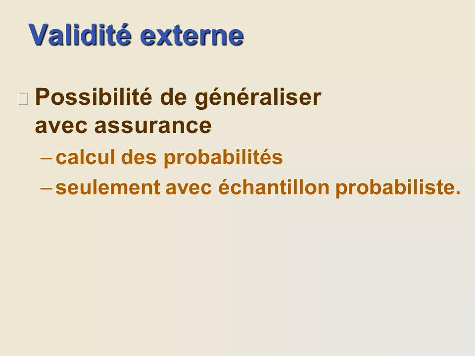 Validité externe Possibilité de généraliser avec assurance