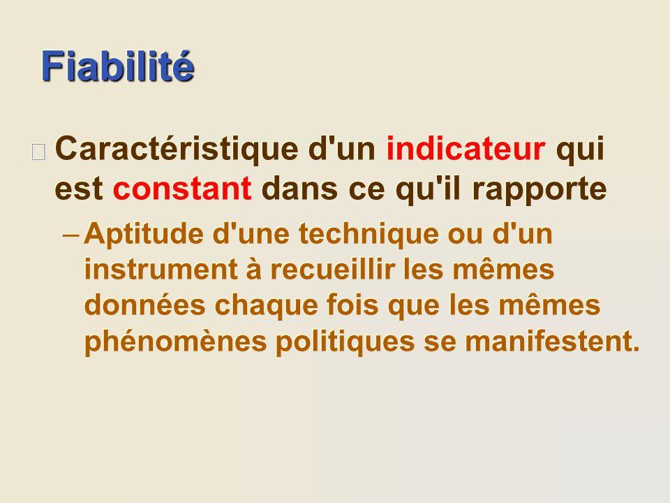 Fiabilité Caractéristique d un indicateur qui est constant dans ce qu il rapporte.